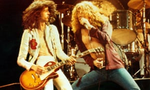 Led Zeppelin … Jimmy Page (left) and Robert Plant, 1976.
