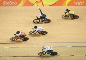 Jason Kenny after crossing the line to win gold.