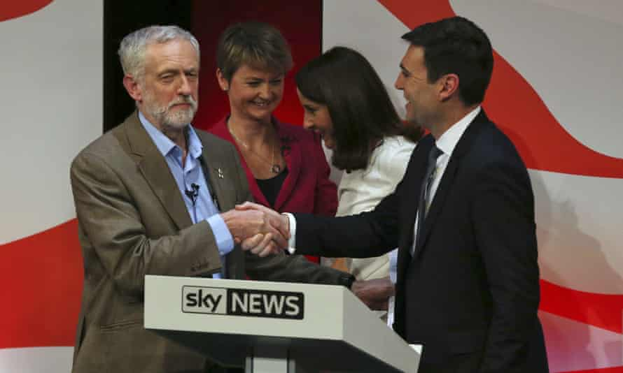 Jeremy Corbyn, Yvette Cooper, Liz Kendall, and Andy Burnham at the end of the final leadership debate in 2015