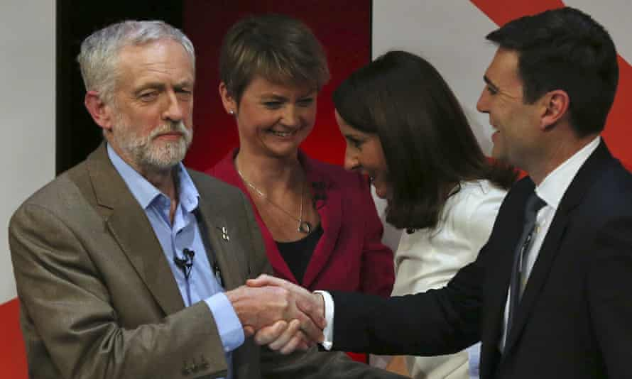 Jeremy Corbyn with other candidates Yvette Cooper, Liz Kendall, and Andy Burnham at the end of the Labour party leadership final debate at the Sage in Gateshead, 3 September