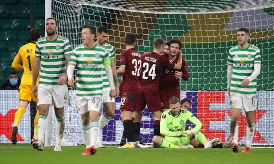 Celtic's players react with dismay after Lukas Julis completed his hat-trick with Sparta Prague's third goal