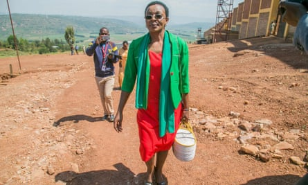 Victoire Ingabire walks outside the Nyarugenge prison in Rwanda after being released this month.