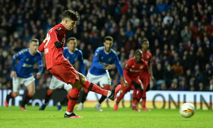 Kai Havertz scores from the spot for Bayer Leverkusen in their Europa League last-16 first leg at Rangers in March