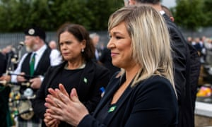 Michelle O'Neill (right) at Bobby Storey's funeral at the Milltown Cemetery in west Belfast yesterday.