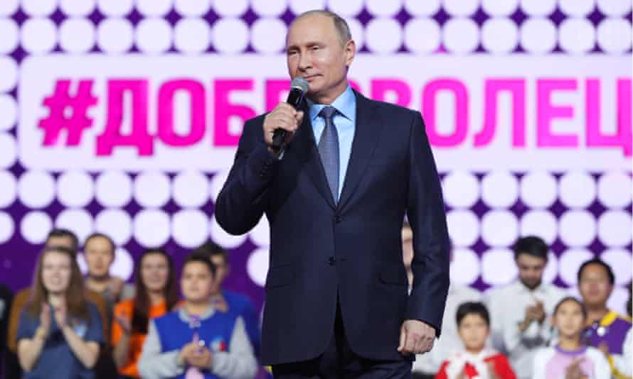 Vladimir Putin speaks at an awards ceremony for volunteers at the CSKA Arena in Moscow on Wednesday.