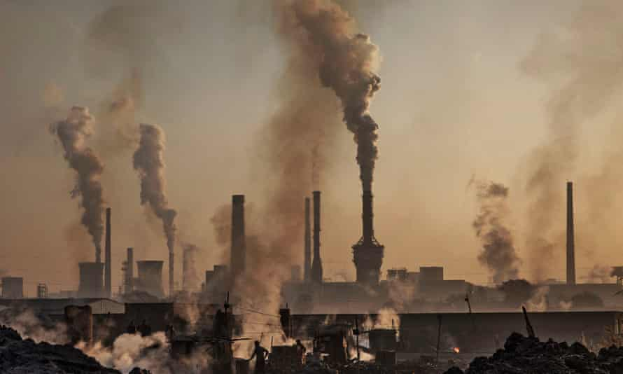 Smoke billowing from the chimneys of a steel factory in Inner Mongolia, China.