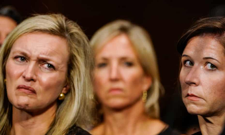 Brett Kavanaugh's wife, Ashley Estes Kavanaugh (right) and Kavanaugh supporter Laura Cox Kaplan (left) during the Senate Judiciary Committee hearing.