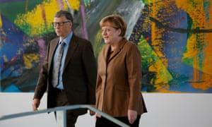 German chancellor Angela Merkel and Bill Gates at talks in Berlin in 2014