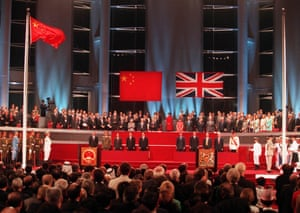 A general view of the handover ceremony showing the Chinese flag flying after the Union flag was lowered July 1, 1997.