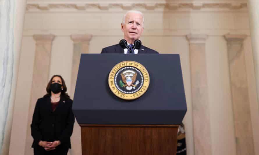 Joe Biden speaks on the verdict as Kamala Harris looks on, at the White House.