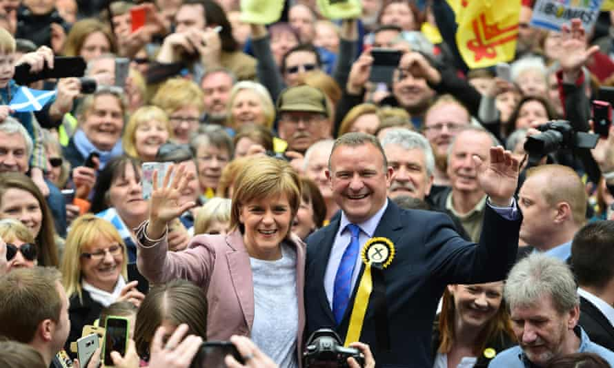 Nicola Sturgeon and Scottish National party councillor Drew Hendry campaign in Inverness.