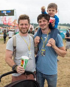 Neil, Neil and Louis. Voxpops. Glastonbury Festival. Photograph by David Levene 24/6/17