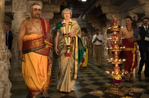 May is welcomed to the Sri Someshwara temple in Bengaluru, India during a trade mission in November 2016