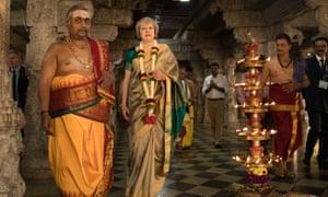 Theresa May visiting the Sri Someshwara Temple in Bangalore, India, today.