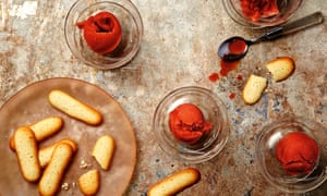 Photograph of Thomasina Miers' blood orange and Aperol sorbet with langues du chat.