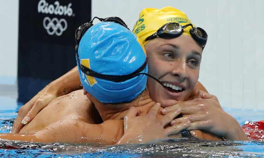Maddie Groves, right, after winning silver in the women's 200m butterfly at Rio