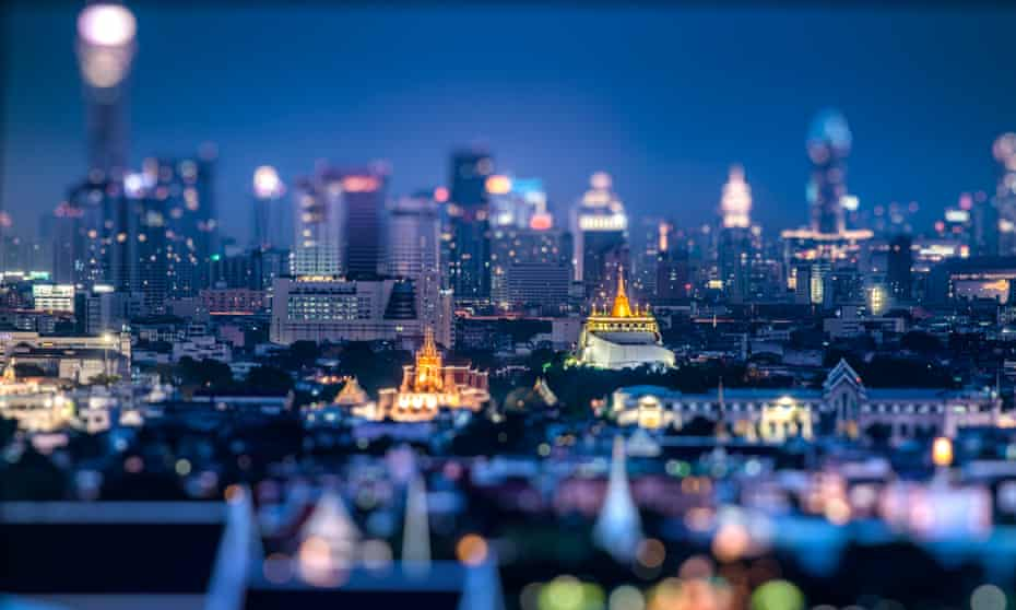 The Bangkok skyline with Golden Mount (Wat Saket) to the right.