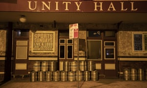 Kegs sit outside the Unity Hall Hotel in Balmain, Sydney. Bars and pubs across Australia have been shut March in response to the coronavirus pandemic.