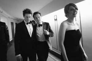 George MacKay, left, one of the stars of 1917, backstage with Andrew Scott