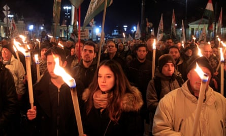 A rally in support of Hungary's rightwing Jobbik party in Budapest last December.