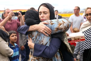 The New Zealand prime minister, Jacinda Ardern, hugs a mosque-goer at the Kilbirnie Mosque on 17 March 2019 in Wellington, after fatal shooting attacks on two mosques in Christchurch two days prior.
