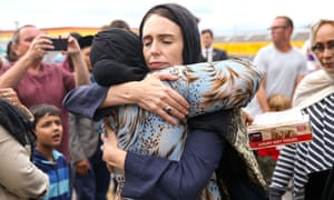 New Zealand prime minister Jacinda Ardern hugs a mosque-goer at the Kilbirnie mosque in Wellington, New Zealand, on Sunday.