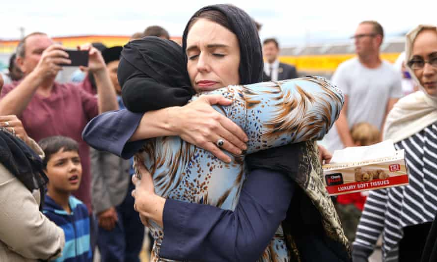 New Zealand prime minister Jacinda Ardern hugs a mosque-goer in Wellington in March 2019.