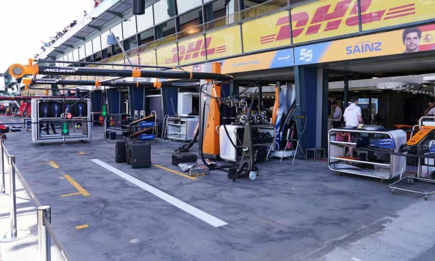 The McLaren pit in Melbourne on Thursday.
