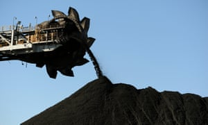 This photo taken on 25 April 2012 shows coal being stockpiled at the coal port of Newcastle, Australia.