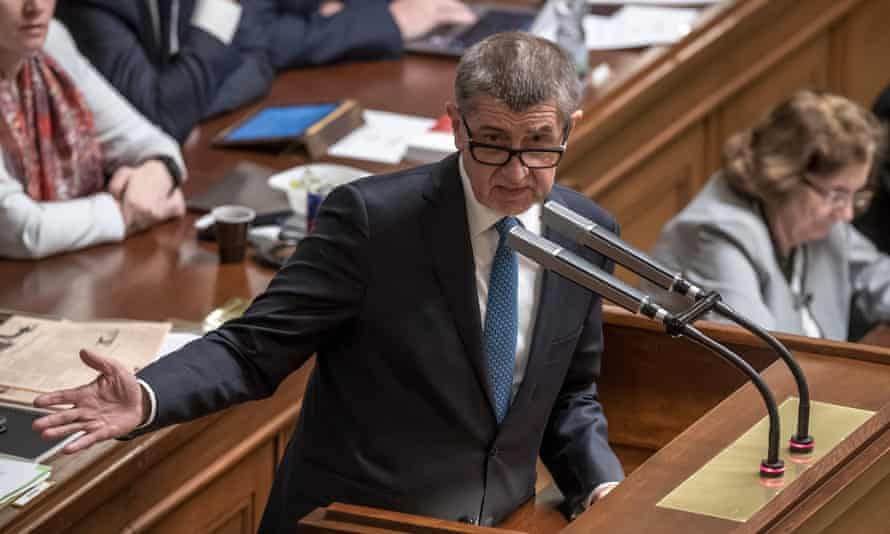 The Czech prime minister, Andrej Babiš, attends a parliamentary session for a confidence vote on Tuesday.