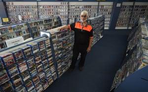 Geoffrey Hooper in his DVD store