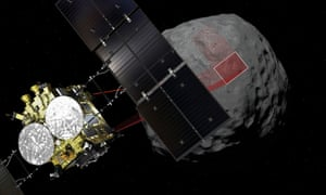 The Hayabusa 2 probe arriving at the asteroid Ryugu