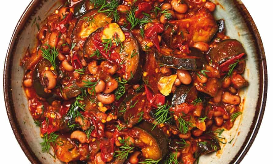 Meera Sodha's aubergine, black eyed bean and dill curry.