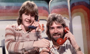 Keith Chegwin and Noel Edmonds, right, presenting Multi-Coloured Swap Shop