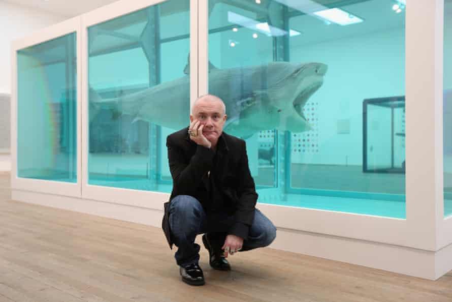 Better than bricks: Damien Hirst in front of his artwork The Physical Impossibility of Death in the Mind of Someone Living.
