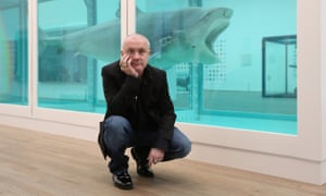 Damien Hirst with The Physical Impossibility of Death in the Mind of Someone Living at Tate Modern, London in 2012.