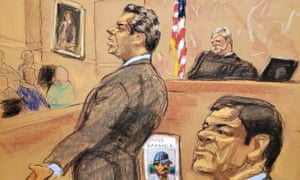 Defense attorney Jeffrey Lichtman gives closing arguments during the trial of Joaquin 'El Chapo' Guzmán in this courtroom sketch in Brooklyn federal court in New York.