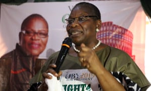 NIGERIA-VOTE-EZEKWESILIACPN (Allied Congress Party of Nigeria) female presidential candidate Oby Ezekwesili speaks during a campaign in Kaduna, on January 17, 2019. - Oby Ezekwesili, a former Minister of Education and co-founder of the NGO Transparency International, has become a figure in the #BringBackOurGirls movement, created in support of more than 200 high school girls from Chibok, kidnapped by Boko Haram in 2014. (Photo by Sodiq Adelakun / AFP)SODIQ ADELAKUN/AFP/Getty Images