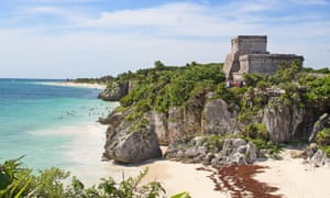 Ruins of the Mayan fortress and temple near Tulum, Mexico.