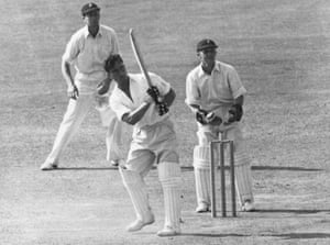 England's Denis Compton hits a boundary on his way to a quick century in the second Test against South Africa at the Oval in August 1947