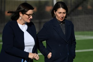 NSW premier Gladys Berejiklian (right) and NSW education minister Sarah Mitchell arrive to speak to the media on Tuesday.