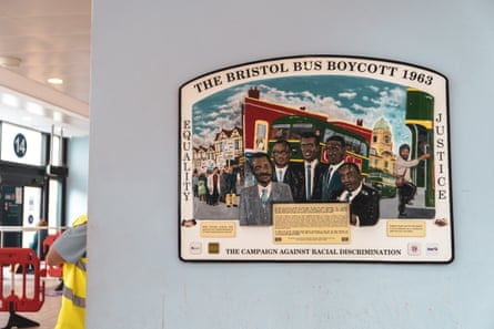 A plaque in Bristol bus station commemorating the 1963 bus boycott