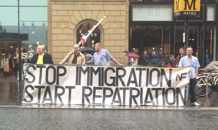 A National Front banner in Newcastle.