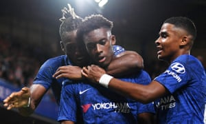 Callum Hudson-Odoi (centre) celebrated his return from injury with Chelsea's seventh goal against Grimsby.