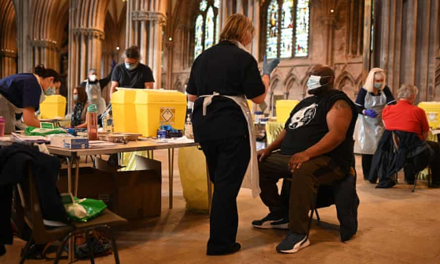 A vaccination centre at Lichfield Cathedral in the Midlands this week