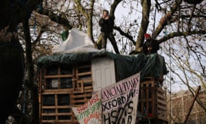 HS2 protesters in trees at the encampment in Euston Square Gardens on Thursday