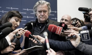 Steve Bannon addresses the media