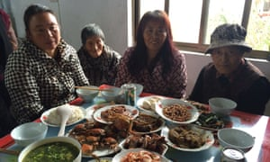 Staff and residents at the Dingdian retirement home in Rudong.