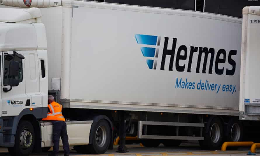 A Hermes lorry at the company's distribution base off the M62 at Burtonwood, Cheshire.