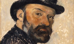 A detail of Self-portrait in a Bowler Hat by Paul Cézanne, 1892.
